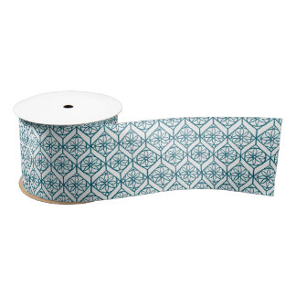Teal on White Ethnic Pattern, Flowers, Chevrons Satin Ribbon