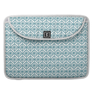 Teal on White Ethnic Pattern, Flowers, Chevrons Sleeve For MacBook Pro