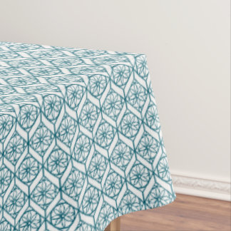 Teal on White Ethnic Pattern, Flowers, Chevrons Tablecloth