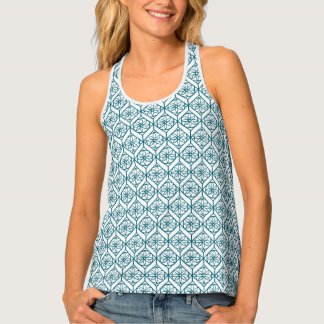 Teal on White Ethnic Pattern, Flowers, Chevrons Tank Top
