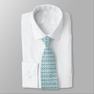 Teal on White Ethnic Pattern, Flowers, Chevrons Tie