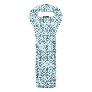 Teal on White Ethnic Pattern, Flowers, Chevrons Wine Bag