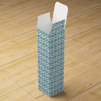 Teal on White Ethnic Pattern, Flowers, Chevrons Wine Box