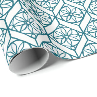 Teal on White Ethnic Pattern, Flowers, Chevrons Wrapping Paper