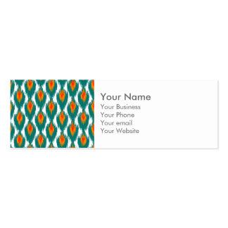 Teal Orange Abstract Tribal Ikat Diamond Pattern Business Card Template