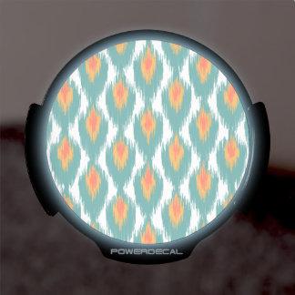 Teal Orange Abstract Tribal Ikat Diamond Pattern LED Auto Decal