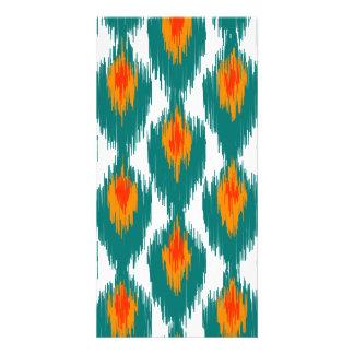 Teal Orange Abstract Tribal Ikat Diamond Pattern Photo Cards