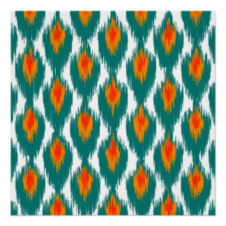 Teal Orange Abstract Tribal Ikat Diamond Pattern Poster