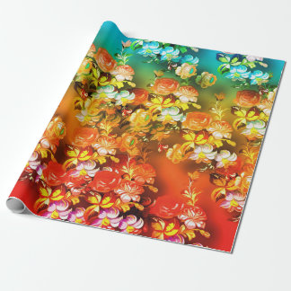 Teal orange and red abstract roses wrapping paper
