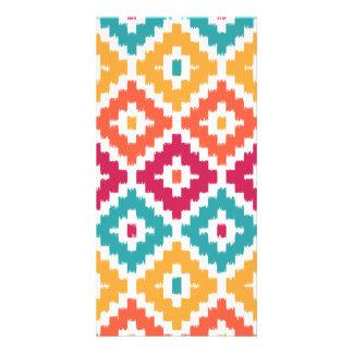 Teal Orange Aztec Tribal Print Ikat Diamond Pattrn Custom Photo Card