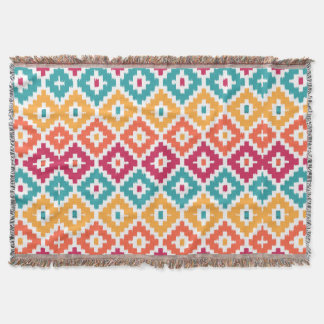 Teal Orange Aztec Tribal Print Ikat Diamond Pattrn Throw Blanket