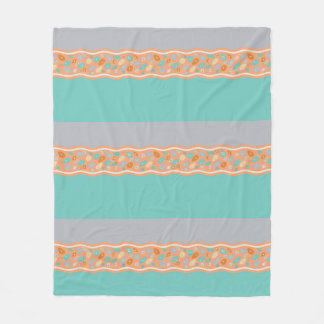 Teal, orange, gray, fleece blanket