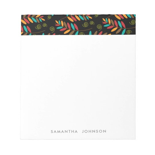 Teal, Orange, Red, Brown Fall Leaf Pattern Notepad