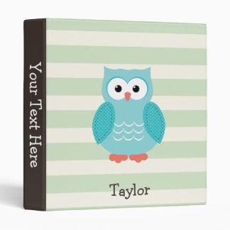 Teal Owl on Pastel Green Stripes Vinyl Binder