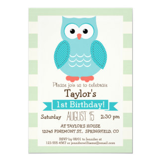 Teal Owl on Pastel Green Stripes 5x7 Paper Invitation Card