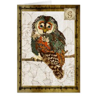 Teal Owl Vintage  Monogram Notecard Stationery Note Card