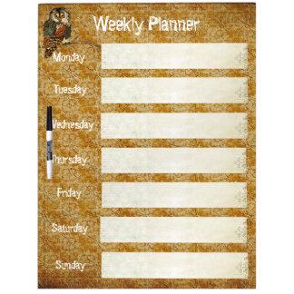 Teal Owl Weekly Planner Dry Erase Board