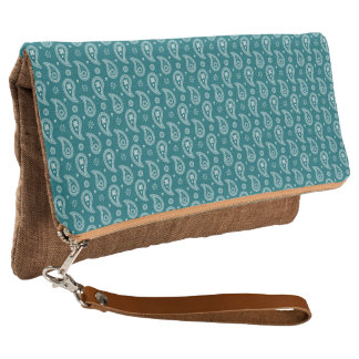 Teal Paisley Clutch
