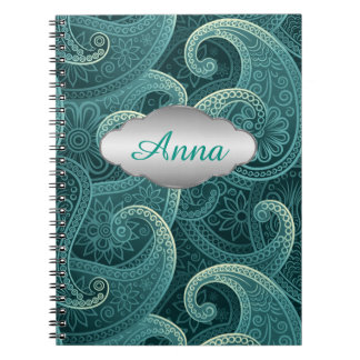 Teal Paisley Timeless Pattern Personalized Note Book