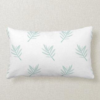 Teal Palm Leaf Design Lumber Pillow