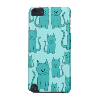Teal Pattern of Cute Cats. iPod Touch 5G Case