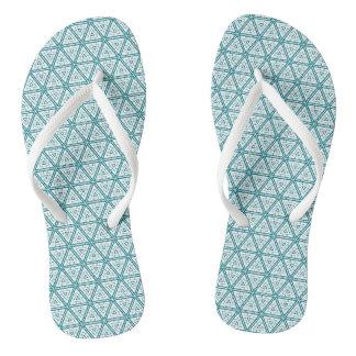 Teal Pattern Sandals Flip Flops