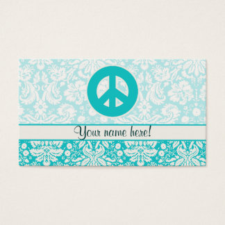 Teal Peace Sign Business Card