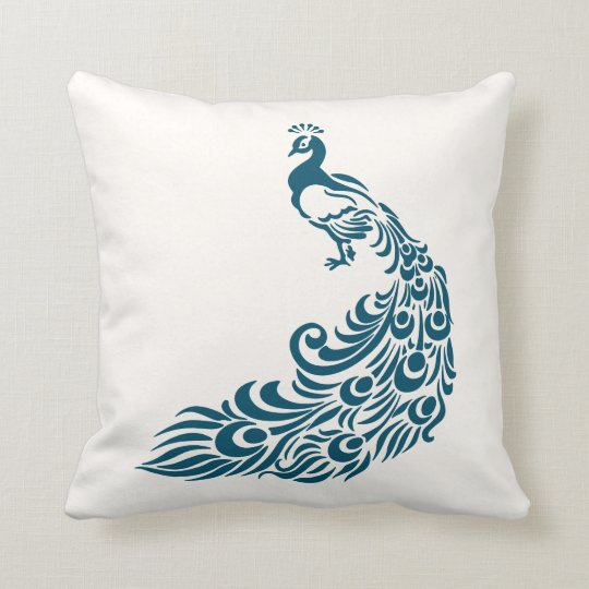 Teal Peacock Bold Stylish Art Deco Design Throw Pillow