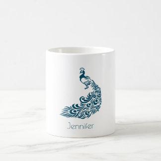 Teal Peacock Bold & Stylish Art Deco Personalized Coffee Mug