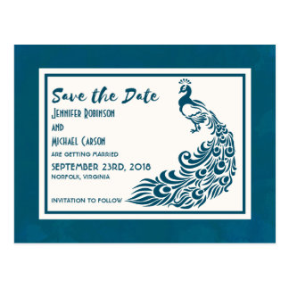 Teal Peacock Bold Stylish Art Deco Save The Date Postcard