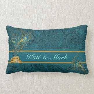 Teal Peacock Custom Wedding for Newlyweds Lumbar Pillow