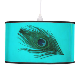 Teal Peacock Feather Pendant Lamp
