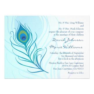 Teal Peacock Feather Wedding Invitation