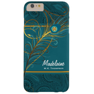 Teal Peacock Feathers with Paisley Barely There iPhone 6 Plus Case