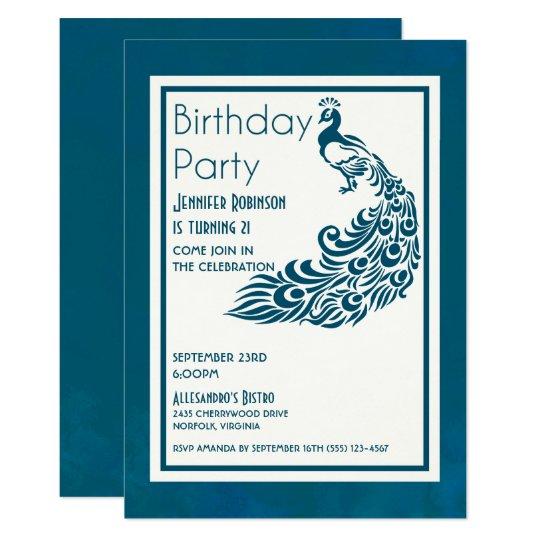Teal Peacock l Chic Stylish Design Birthday Card
