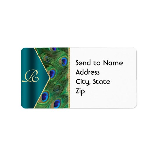 Teal Peacock Monogram Address Label