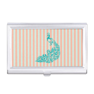 Teal Peacock Silhouette Business Card Holder