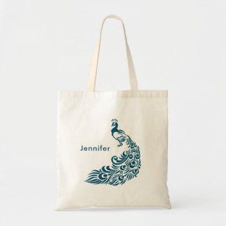 Teal Peacock Stylish Art Deco Design Personalized Tote Bag