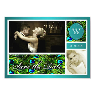 """Teal Peacock Wedding Save the Date Photo Cards 5"""" X 7"""" Invitation Card"""