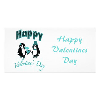 Teal Penguin Happy Valentines Day Custom Photo Card