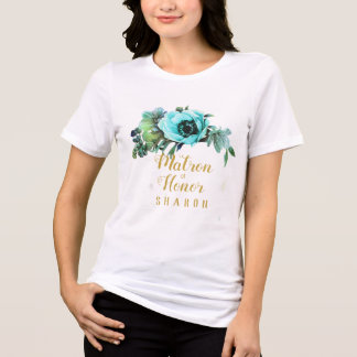 Teal Peony Swag Matron of Honour Name ID456 T-Shirt