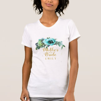 Teal Peony Swag Mother of the Bride Name ID456 T-Shirt