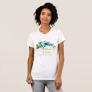 Teal Peony Swag Mother of the Groom Name ID456 T-Shirt