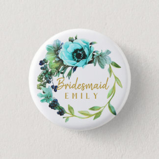 Teal Peony Wreath Bridesmaid Name ID456 1 Inch Round Button