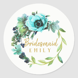 Teal Peony Wreath Bridesmaid Name ID456 Classic Round Sticker