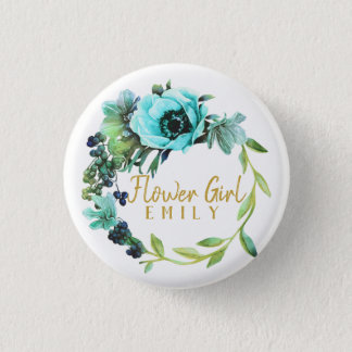 Teal Peony Wreath Flower Girl Name ID456 1 Inch Round Button