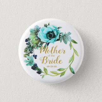 Teal Peony Wreath Mother of the Bride ID456 1 Inch Round Button