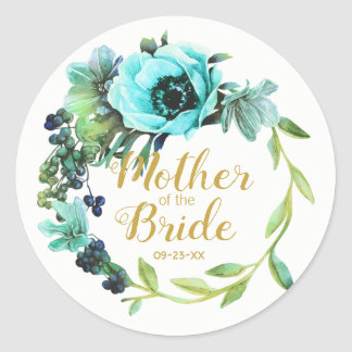 Teal Peony Wreath Mother of the Bride ID456 Classic Round Sticker