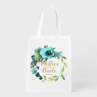 Teal Peony Wreath Mother of the Bride ID456 Reusable Grocery Bag
