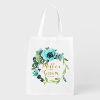 Teal Peony Wreath Mother of the Groom ID456 Reusable Grocery Bag